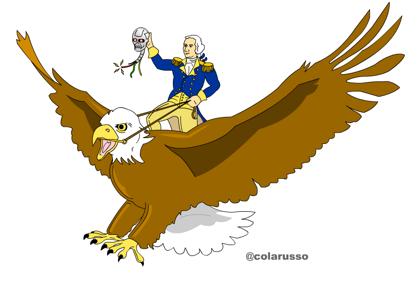 George Washington Riding Atop a Bald Eagle...